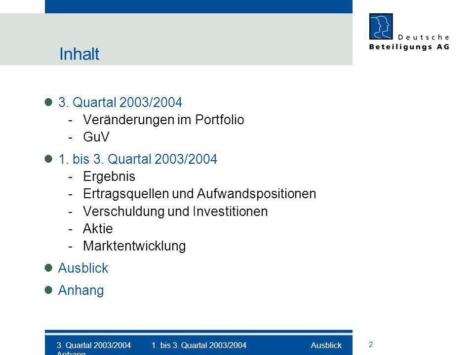 2 Inhalt 3. Quartal 2003/2004 -Veränderungen im Portfolio -GuV 1.