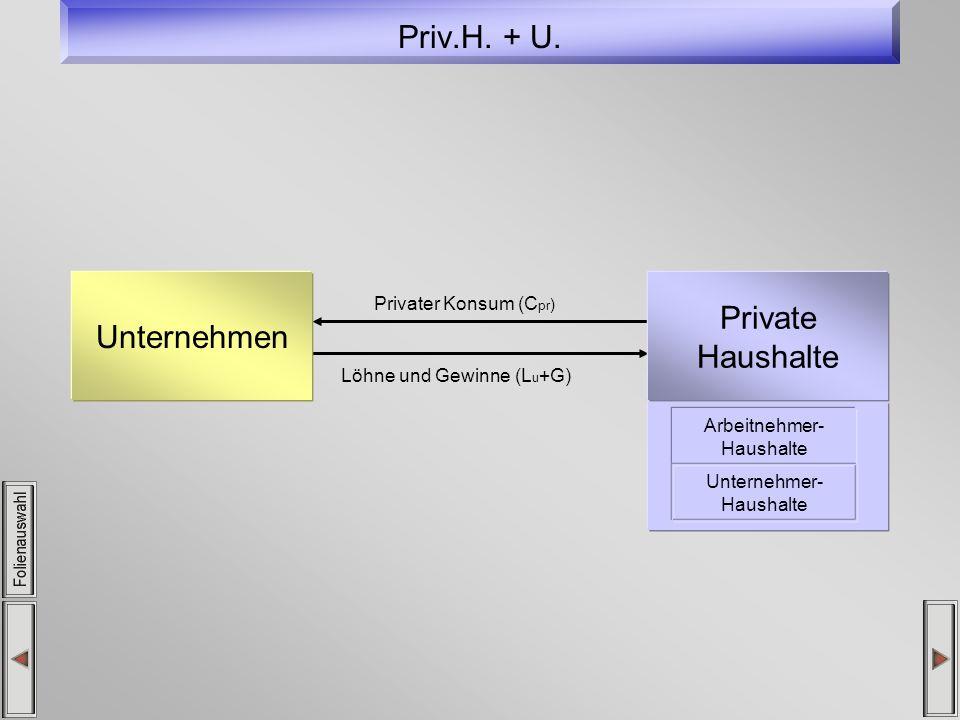 Priv.H. + U. Privater Konsum (C pr ) Löhne und Gewinne (L u +G) Unternehmen Private Haushalte Arbeitnehmer- Haushalte Unternehmer- Haushalte