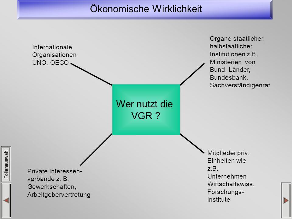 Ökonomische Wirklichkeit Internationale Organisationen UNO, OECO Organe staatlicher, halbstaatlicher Institutionen z.B. Ministerien von Bund, Länder,
