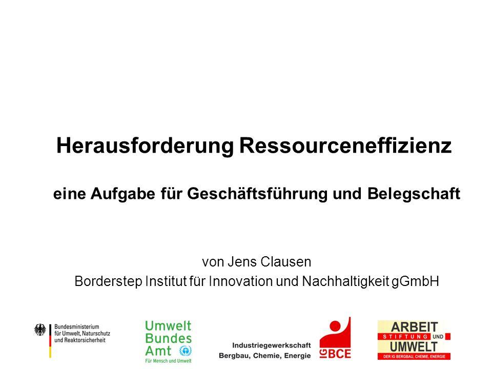 Herausforderung Ressourceneffizienz eine Aufgabe für Geschäftsführung und Belegschaft von Jens Clausen Borderstep Institut für Innovation und Nachhalt