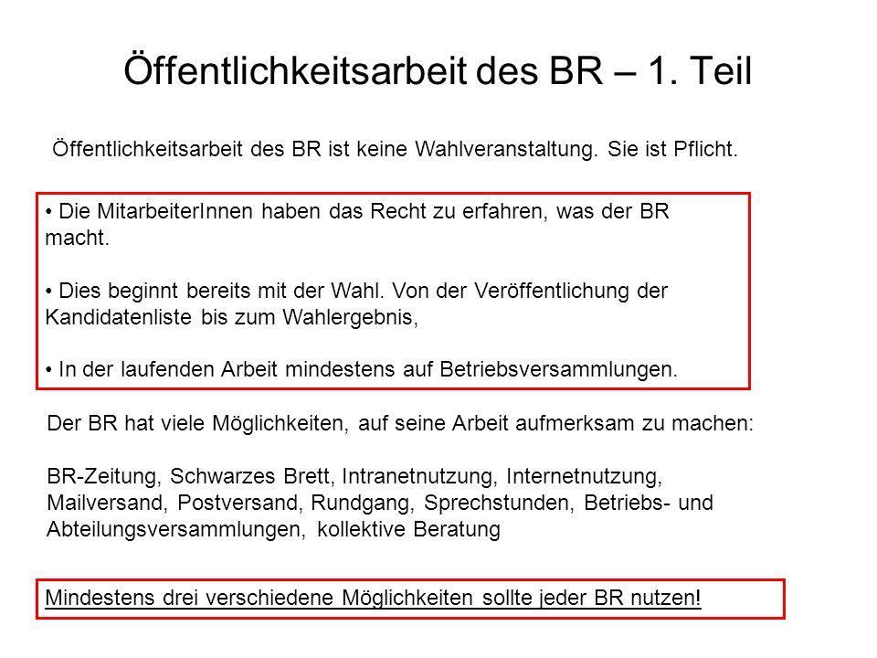 Öffentlichkeitsarbeit des BR – 1. Teil Öffentlichkeitsarbeit des BR ist keine Wahlveranstaltung. Sie ist Pflicht. Die MitarbeiterInnen haben das Recht