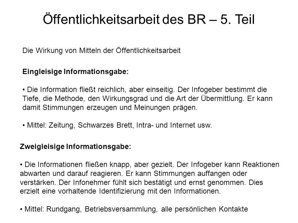 Öffentlichkeitsarbeit des BR – 5. Teil Die Wirkung von Mitteln der Öffentlichkeitsarbeit Eingleisige Informationsgabe: Die Information fließt reichlic