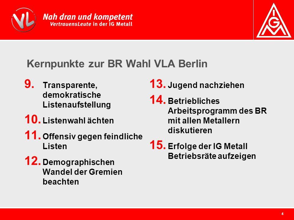 4 Kernpunkte zur BR Wahl VLA Berlin 9. Transparente, demokratische Listenaufstellung 10. Listenwahl ächten 11. Offensiv gegen feindliche Listen 12. De