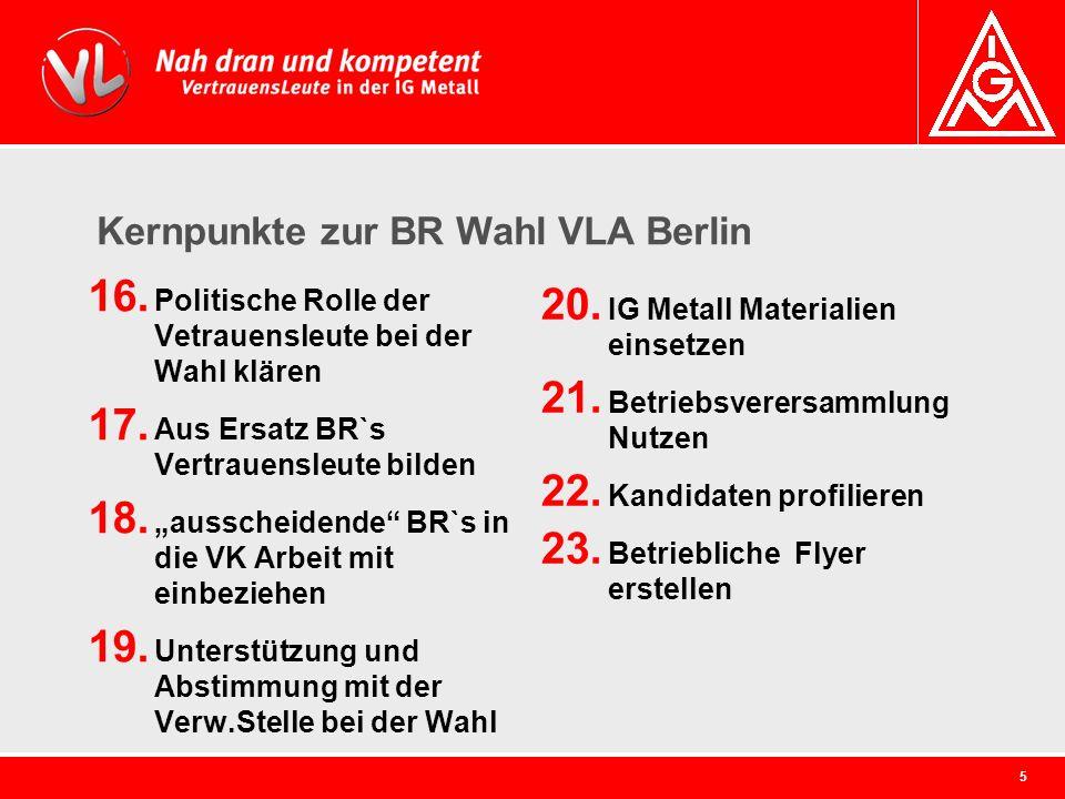 5 Kernpunkte zur BR Wahl VLA Berlin 16. Politische Rolle der Vetrauensleute bei der Wahl klären 17. Aus Ersatz BR`s Vertrauensleute bilden 18. aussche