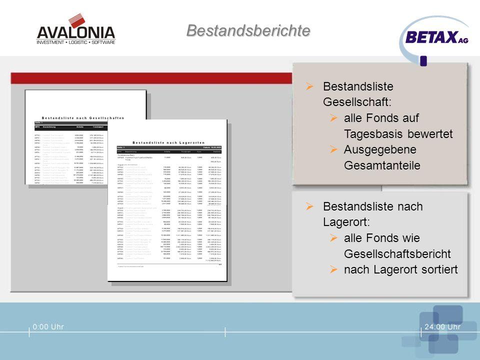 Bestandsberichte Bestandsliste Gesellschaft: alle Fonds auf Tagesbasis bewertet Ausgegebene Gesamtanteile Bestandsliste nach Lagerort: alle Fonds wie