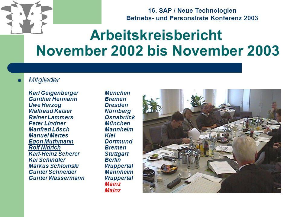 16. SAP / Neue Technologien Betriebs- und Personalräte Konferenz 2003 Arbeitskreisbericht November 2002 bis November 2003 Mitglieder Karl Geigenberger