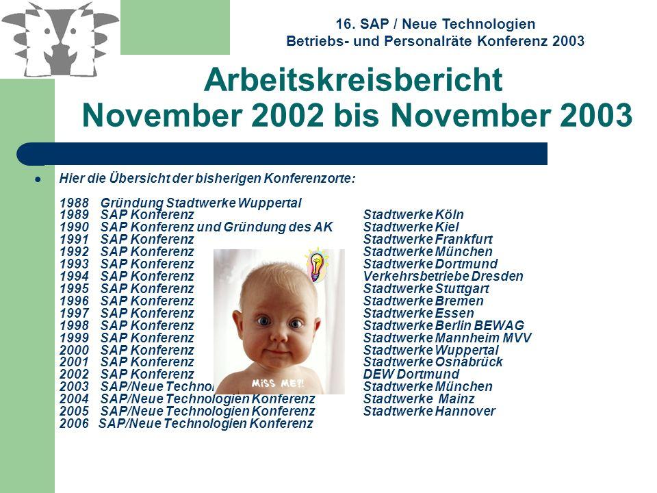 16. SAP / Neue Technologien Betriebs- und Personalräte Konferenz 2003 Arbeitskreisbericht November 2002 bis November 2003 Hier die Übersicht der bishe