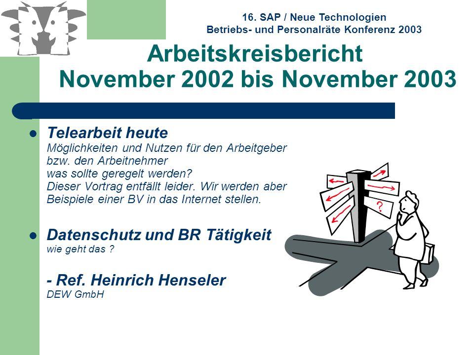 16. SAP / Neue Technologien Betriebs- und Personalräte Konferenz 2003 Arbeitskreisbericht November 2002 bis November 2003 Telearbeit heute Möglichkeit