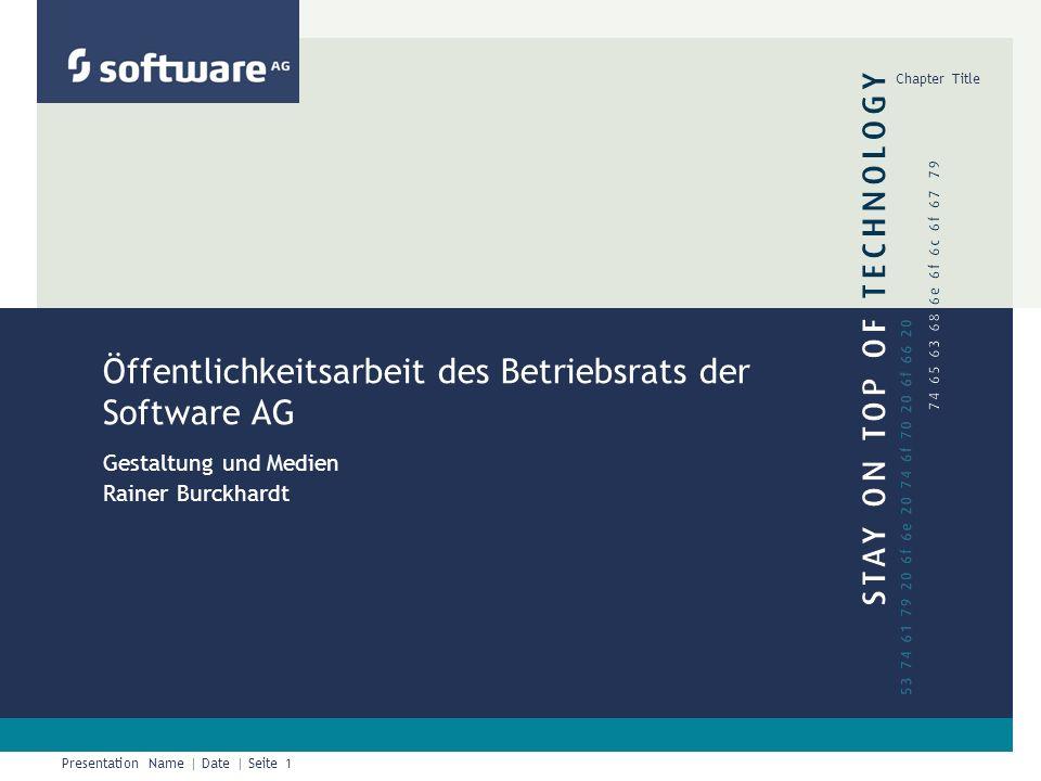 Presentation Name | Date | Seite 1 Chapter Title Öffentlichkeitsarbeit des Betriebsrats der Software AG Gestaltung und Medien Rainer Burckhardt