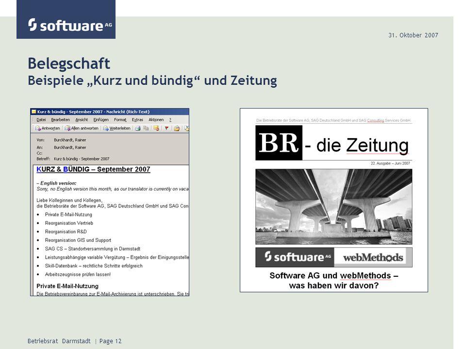 31. Oktober 2007 Betriebsrat Darmstadt | Page 12 Belegschaft Beispiele Kurz und bündig und Zeitung