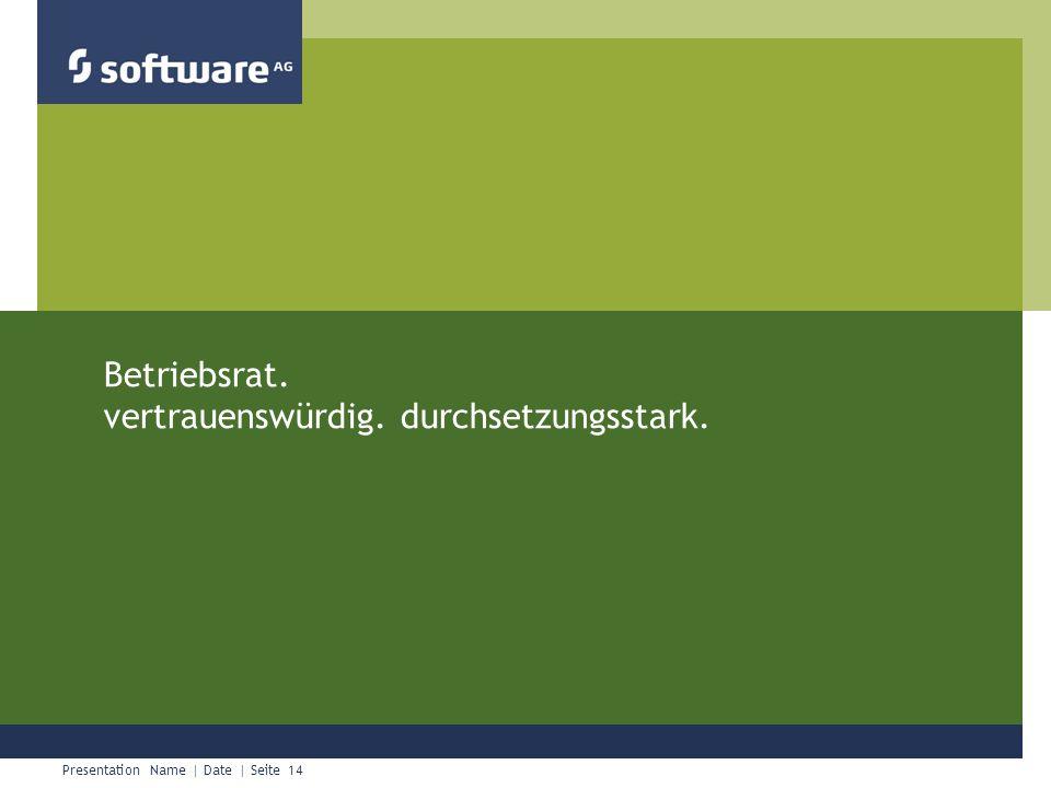 Presentation Name | Date | Seite 14 Chapter Title Betriebsrat. vertrauenswürdig. durchsetzungsstark.