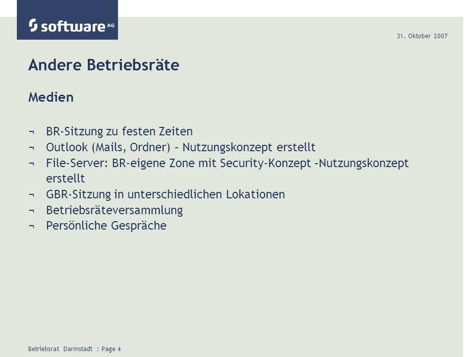 31. Oktober 2007 Betriebsrat Darmstadt | Page 5 Andere Betriebsräte Beispiel Outlook