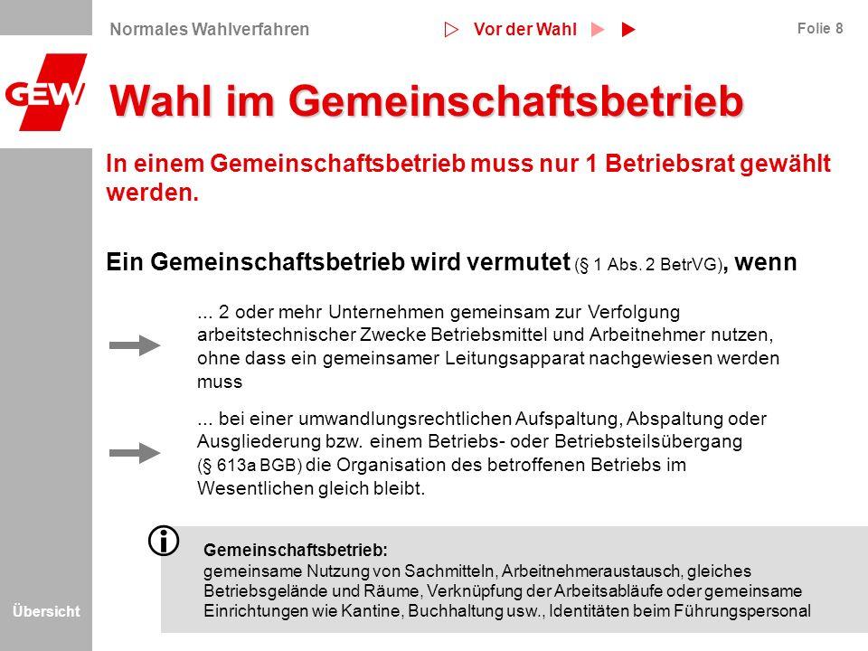Übersicht Folie 9 Wahl im Betriebsteil/Kleinstbetrieb Betriebsteil: räumlich und organisatorisch unterscheidbarer Betriebsbereich, der dem arbeitstechnischen Zweck des Hauptbetriebs dient.