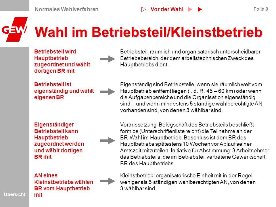 Übersicht Folie 9 Wahl im Betriebsteil/Kleinstbetrieb Betriebsteil: räumlich und organisatorisch unterscheidbarer Betriebsbereich, der dem arbeitstech