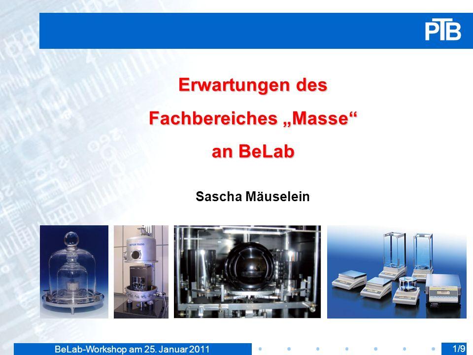 BeLab-Workshop am 25. Januar 2011 Erwartungen des Fachbereiches Masse an BeLab Sascha Mäuselein 1/9