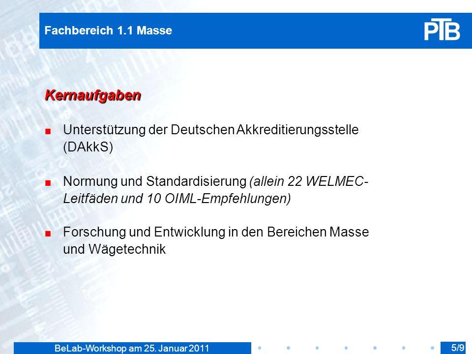 BeLab-Workshop am 25. Januar 2011 Fachbereich 1.1 Masse Kernaufgaben Unterstützung der Deutschen Akkreditierungsstelle (DAkkS) Normung und Standardisi