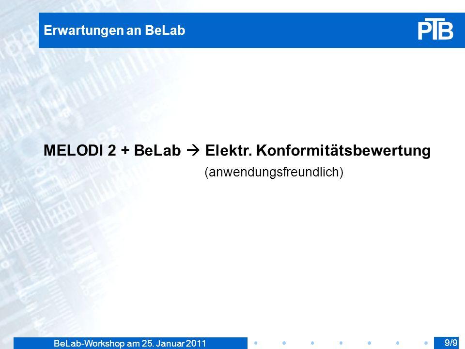 BeLab-Workshop am 25. Januar 2011 Erwartungen an BeLab MELODI 2 + BeLab Elektr.