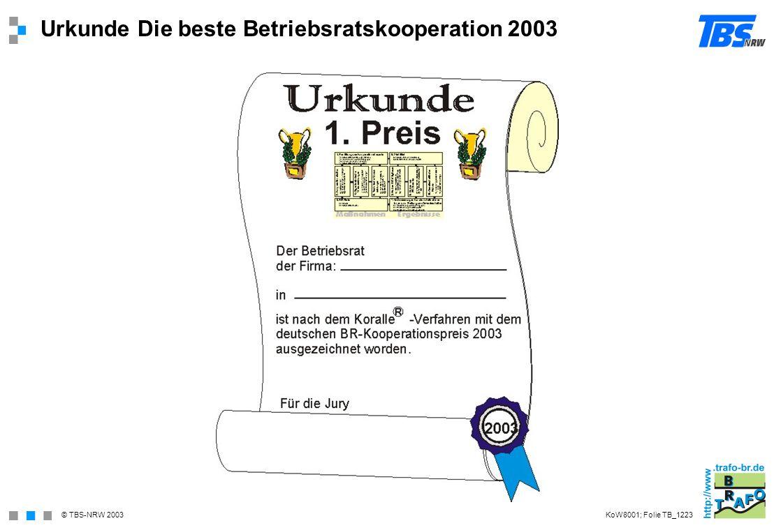 © TBS-NRW 2003 Urkunde Die beste Betriebsratskooperation 2003 KoW8001; Folie TB_1223