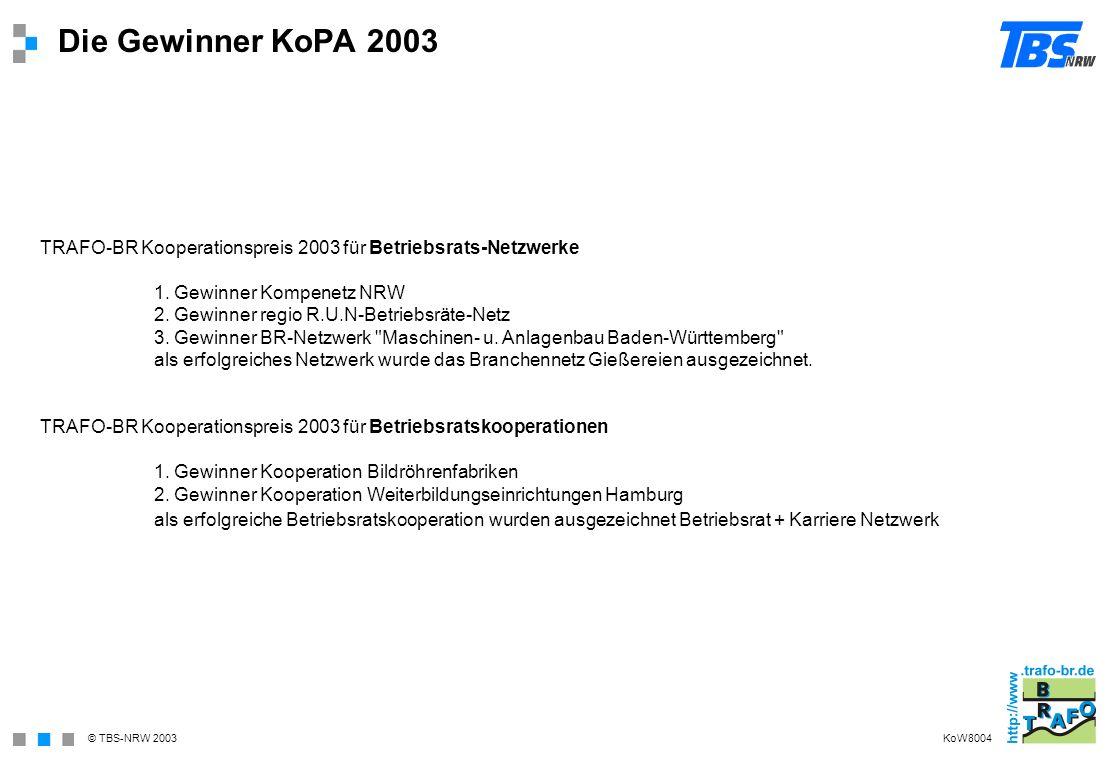 © TBS-NRW 2003 Die Gewinner KoPA 2003 TRAFO-BR Kooperationspreis 2003 für Betriebsrats-Netzwerke 1. Gewinner Kompenetz NRW 2. Gewinner regio R.U.N-Bet
