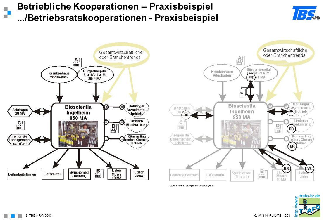 © TBS-NRW 2003 Betriebliche Kooperationen – Praxisbeispiel.../Betriebsratskooperationen - Praxisbeispiel KoW1144; Folie TB_1204
