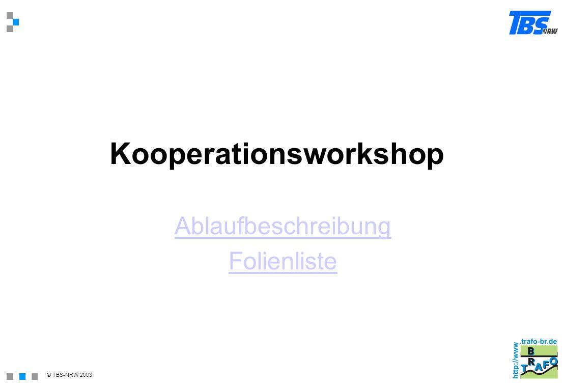 © TBS-NRW 2003 Kooperationsworkshop Ablaufbeschreibung Folienliste