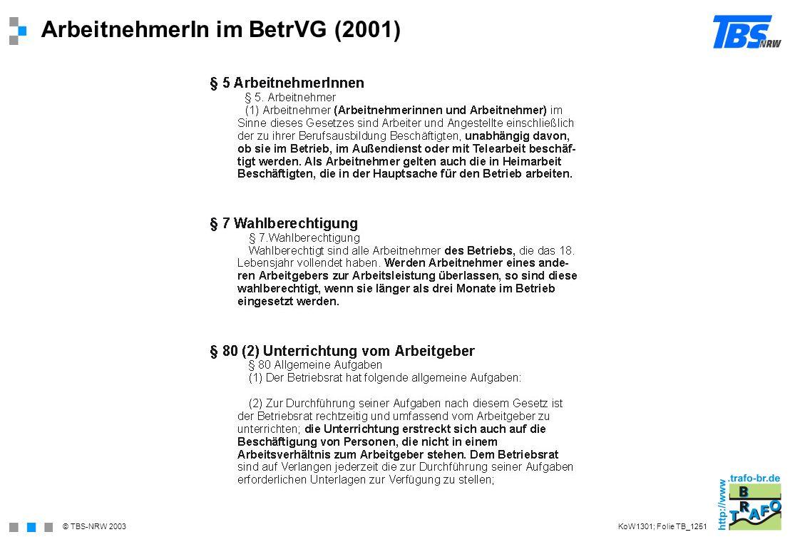 © TBS-NRW 2003 ArbeitnehmerIn im BetrVG (2001) KoW1301; Folie TB_1251