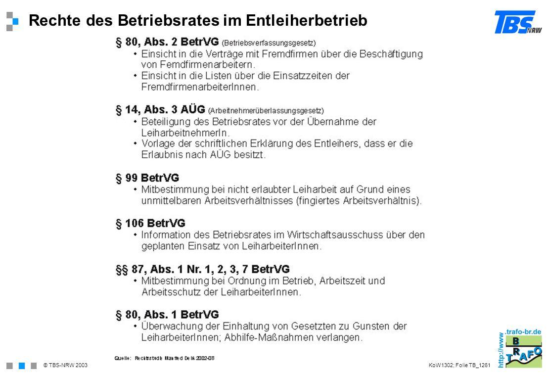 © TBS-NRW 2003 Rechte des Betriebsrates im Entleiherbetrieb KoW1302; Folie TB_1261