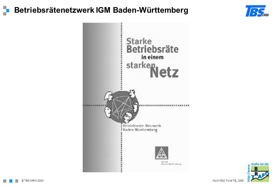 © TBS-NRW 2003 Betriebsrätenetzwerk IGM Baden-Württemberg KoW1502; Folie TB_1269