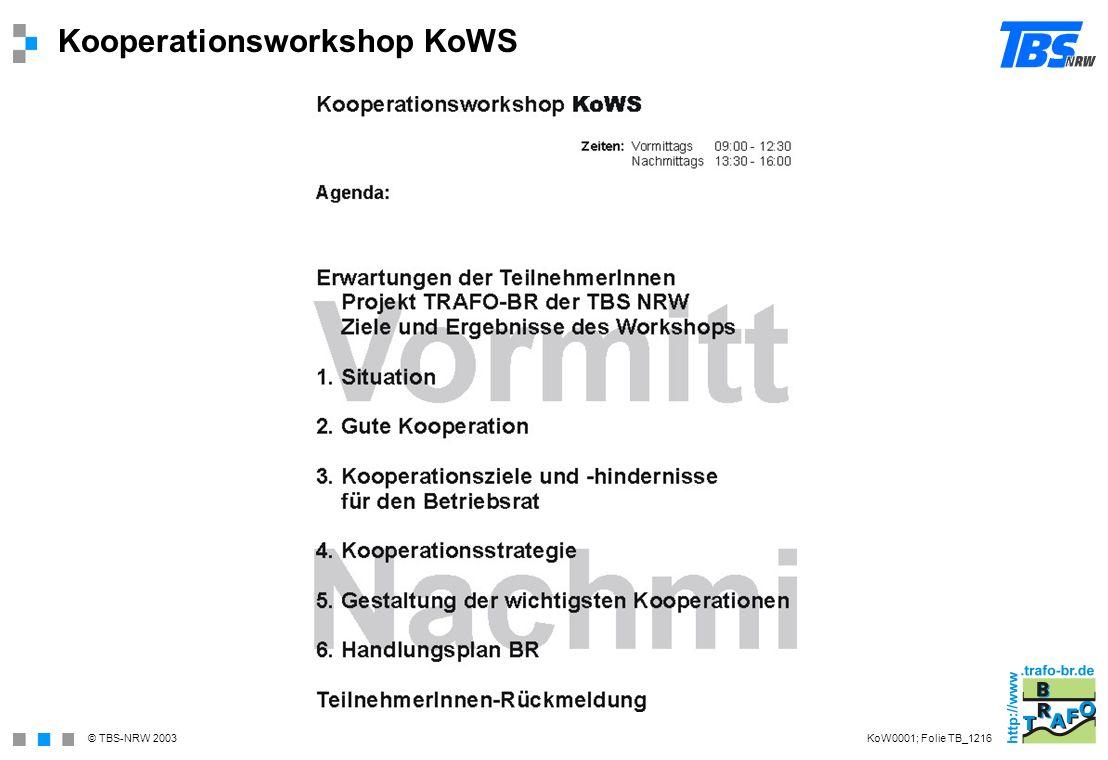 © TBS-NRW 2003 Kooperationsgründe KoW1141; Folie TB_1208