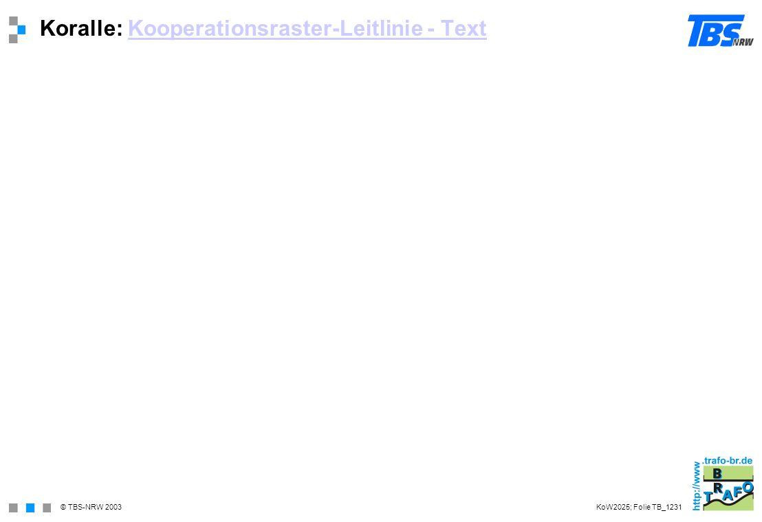 © TBS-NRW 2003 Koralle: Kooperationsraster-Leitlinie - TextKooperationsraster-Leitlinie - Text KoW2025; Folie TB_1231
