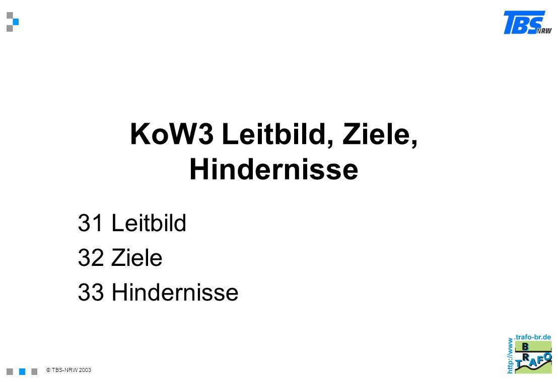 © TBS-NRW 2003 KoW3 Leitbild, Ziele, Hindernisse 31 Leitbild 32 Ziele 33 Hindernisse