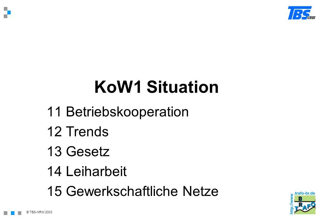 © TBS-NRW 2003 KoW1 Situation 11 Betriebskooperation 12 Trends 13 Gesetz 14 Leiharbeit 15 Gewerkschaftliche Netze
