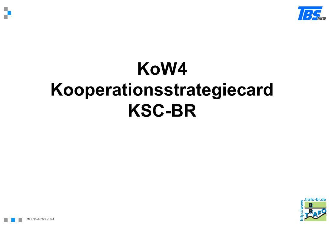 © TBS-NRW 2003 KoW4 Kooperationsstrategiecard KSC-BR