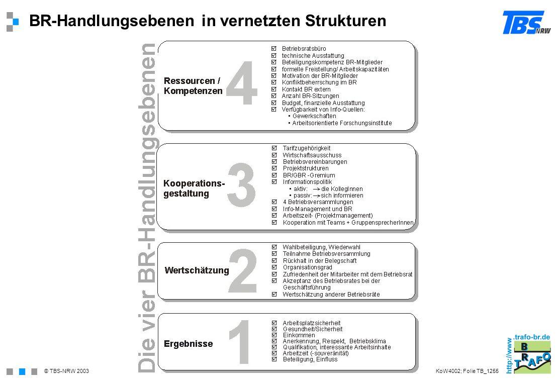© TBS-NRW 2003 BR-Handlungsebenen in vernetzten Strukturen KoW4002; Folie TB_1255