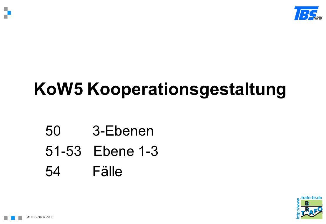 © TBS-NRW 2003 KoW5 Kooperationsgestaltung 50 3-Ebenen 51-53 Ebene 1-3 54 Fälle