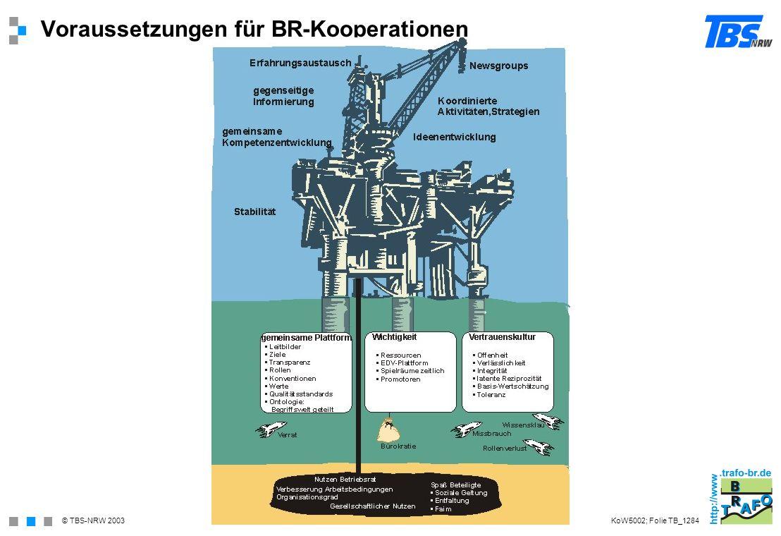 © TBS-NRW 2003 Voraussetzungen für BR-Kooperationen KoW5002; Folie TB_1284