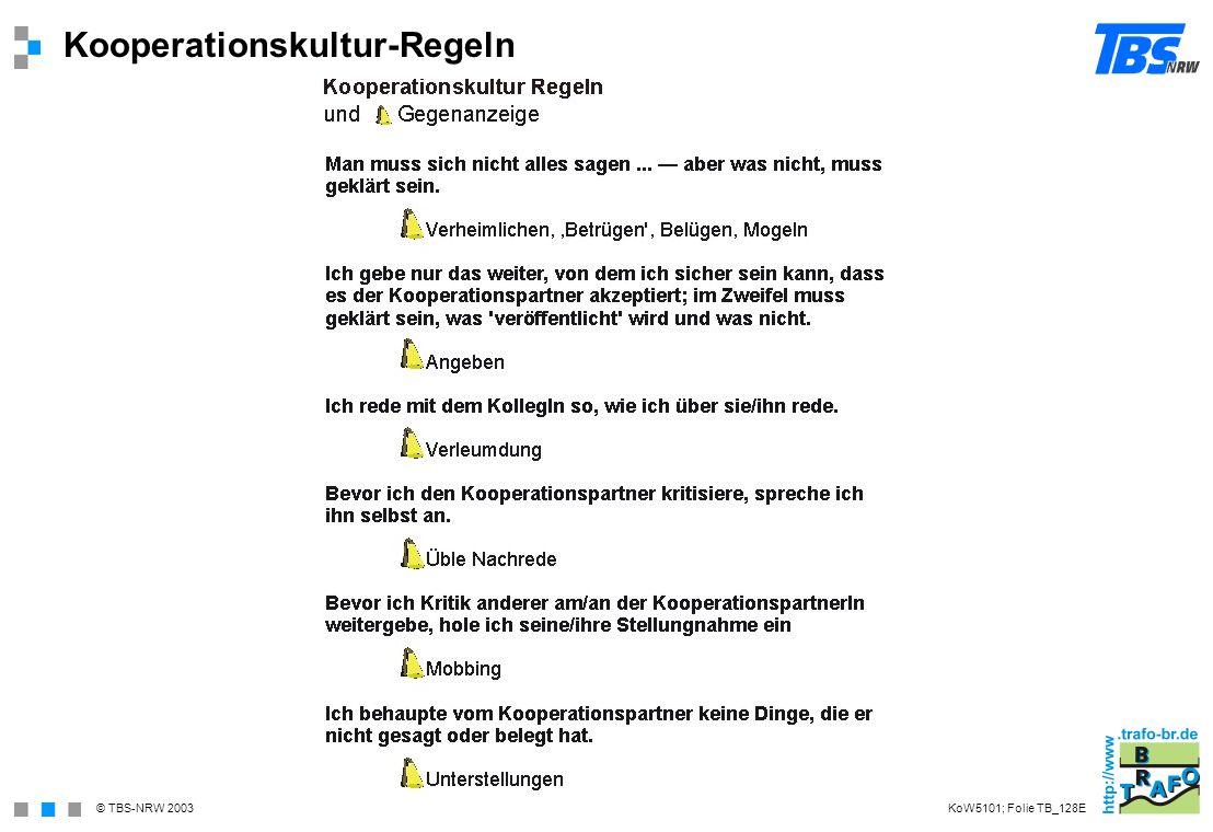 © TBS-NRW 2003 Kooperationskultur-Regeln KoW5101; Folie TB_128E