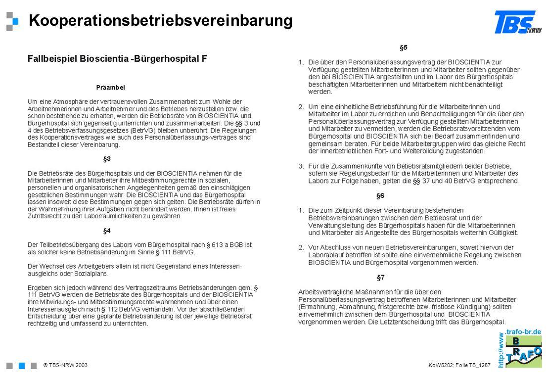 © TBS-NRW 2003 Kooperationsbetriebsvereinbarung KoW5202; Folie TB_1257
