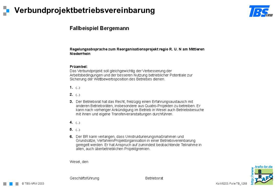 © TBS-NRW 2003 Verbundprojektbetriebsvereinbarung KoW5203; Folie TB_1258