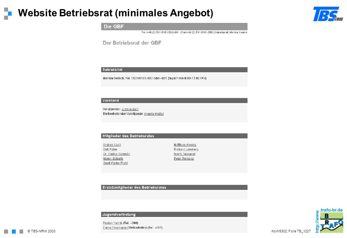 © TBS-NRW 2003 Website Betriebsrat (minimales Angebot) KoW5302; Folie TB_1227