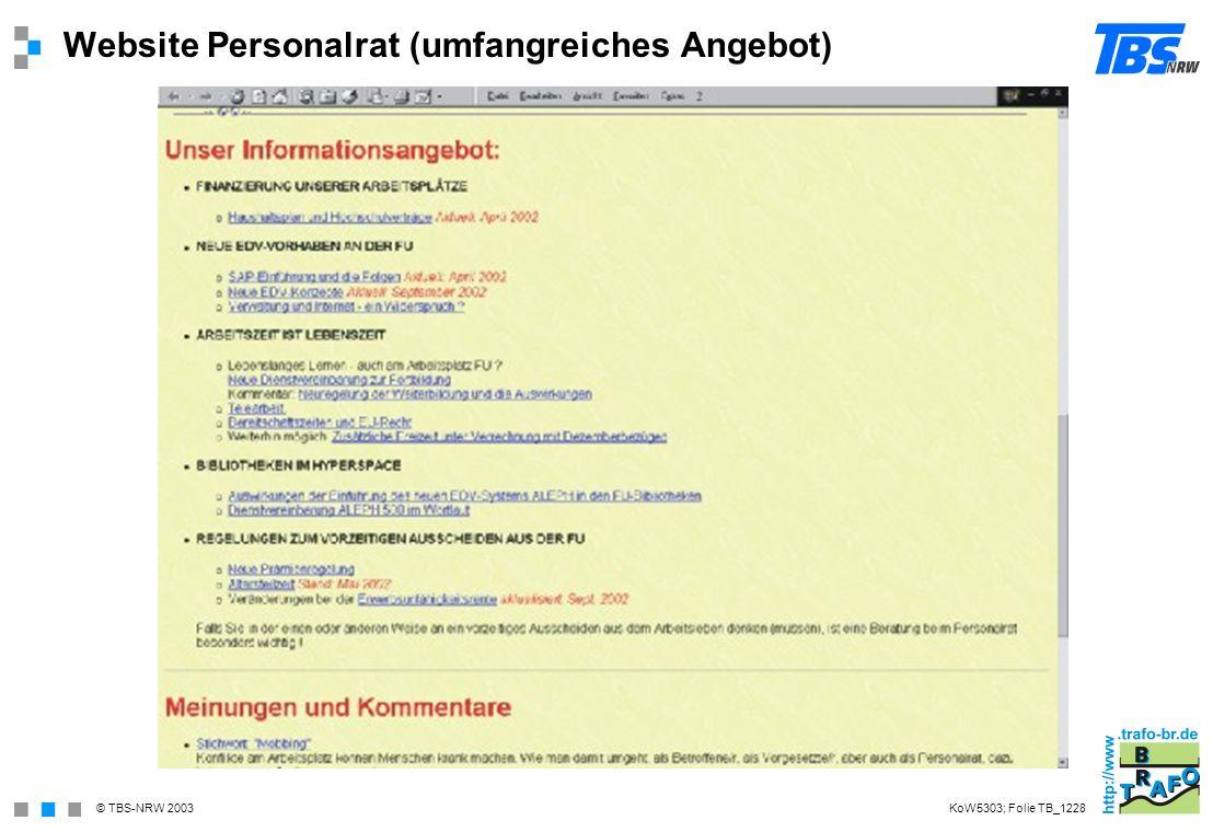 © TBS-NRW 2003 Website Personalrat (umfangreiches Angebot) KoW5303; Folie TB_1228
