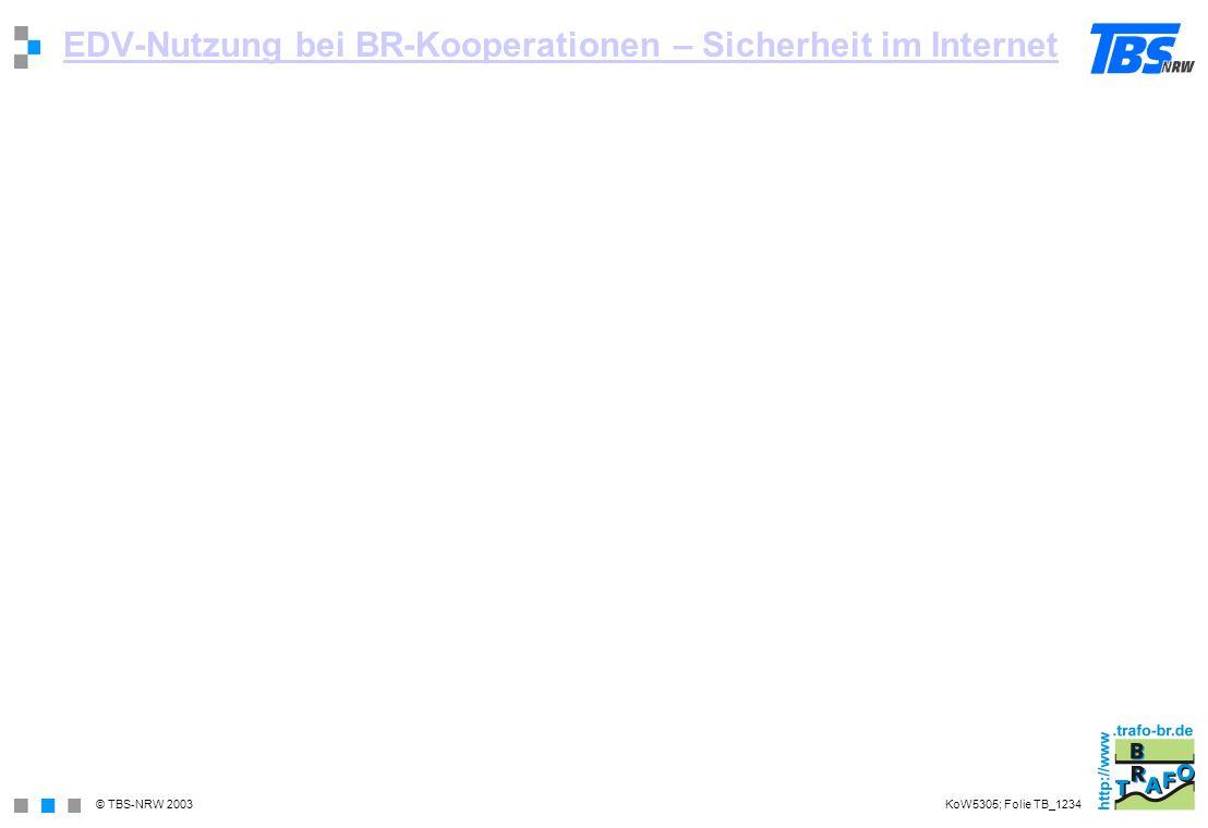 © TBS-NRW 2003 EDV-Nutzung bei BR-Kooperationen – Sicherheit im Internet KoW5305; Folie TB_1234