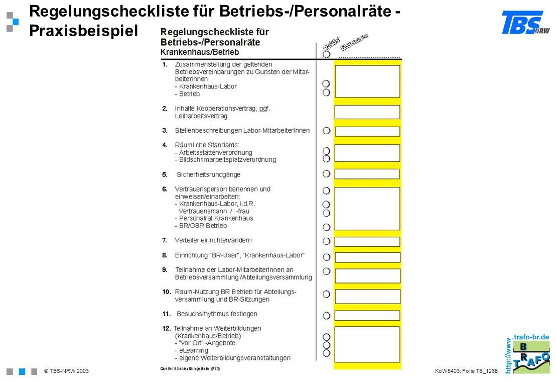 © TBS-NRW 2003 Regelungscheckliste für Betriebs-/Personalräte - Praxisbeispiel KoW5403; Folie TB_1265