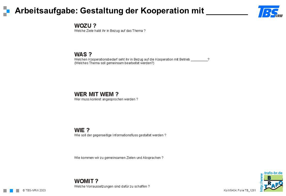 © TBS-NRW 2003 Arbeitsaufgabe: Gestaltung der Kooperation mit _________ KoW5404; Folie TB_1281