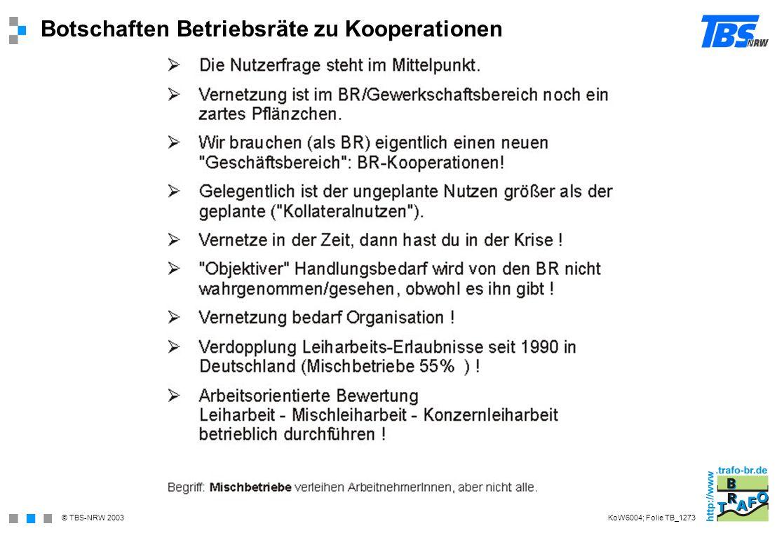 © TBS-NRW 2003 Botschaften Betriebsräte zu Kooperationen KoW6004; Folie TB_1273