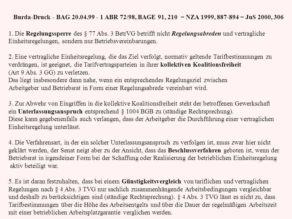 Burda-Druck - BAG 20.04.99 - 1 ABR 72/98, BAGE 91, 210 = NZA 1999, 887-894 = JuS 2000, 306 1. Die Regelungssperre des § 77 Abs. 3 BetrVG betrifft nich