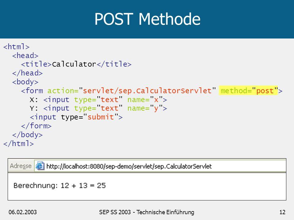 06.02.2003SEP SS 2003 - Technische Einführung12 Calculator X: Y: POST Methode