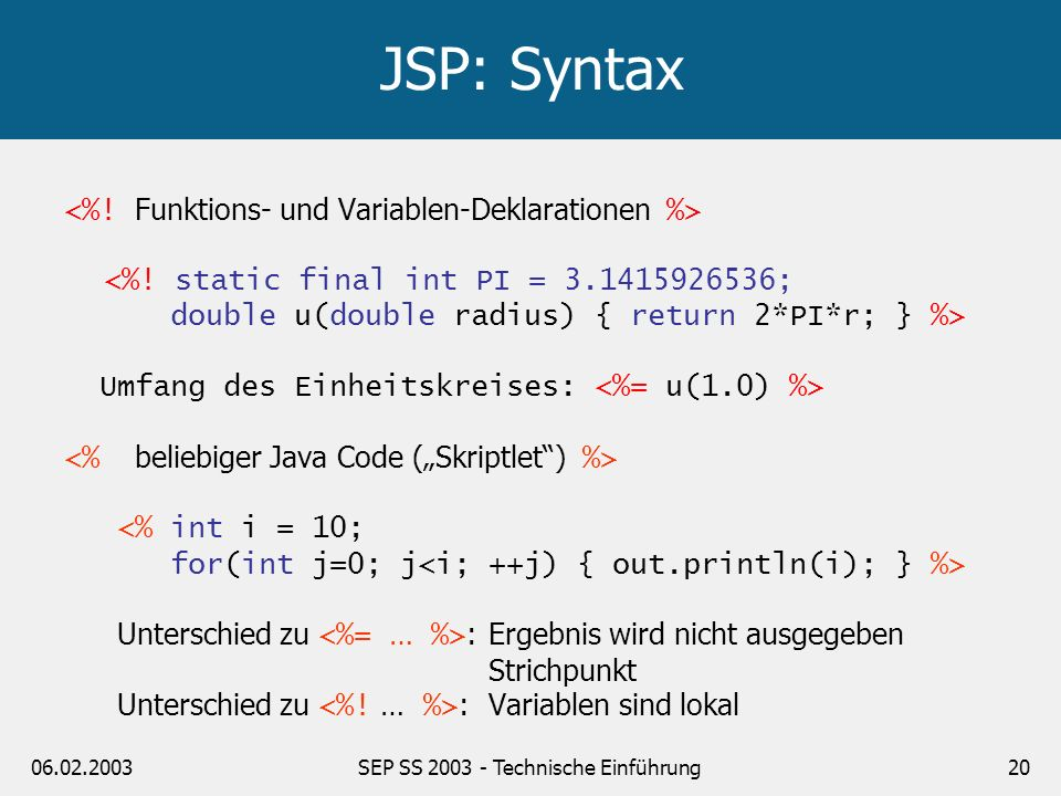 06.02.2003SEP SS 2003 - Technische Einführung20 JSP: Syntax <%! static final int PI = 3.1415926536; double u(double radius) { return 2*PI*r; } %> Umfa