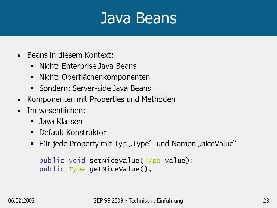 06.02.2003SEP SS 2003 - Technische Einführung24 JSPs und JavaBeans Bean deklarieren / erzeugen <jsp:useBean id= bean scope= request type= Klassenname /> Property lesen Property schreiben <jsp:setProperty name= bean property= niceValue value= 1.0 /> Beispiel folgt