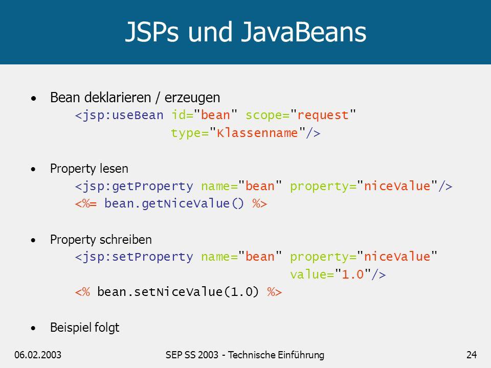 06.02.2003SEP SS 2003 - Technische Einführung24 JSPs und JavaBeans Bean deklarieren / erzeugen <jsp:useBean id=